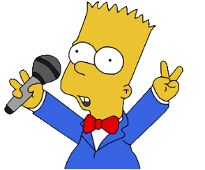 Bart Simpson wearing a red bow tie and blue suit